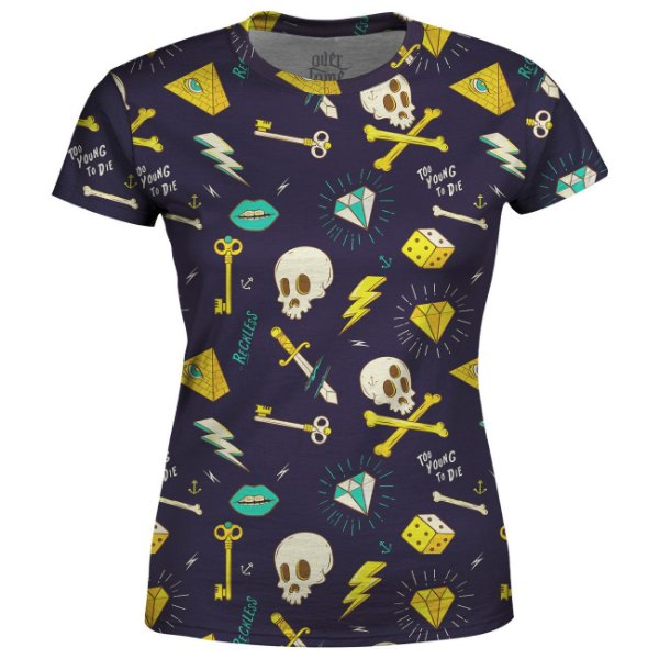 Camiseta Baby Look Feminina Hipster Tattoo Estampa Total - OUTLET