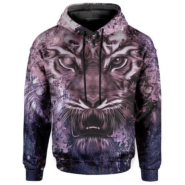 Moletom Com Capuz Unissex Tie Dye Tigre Md04