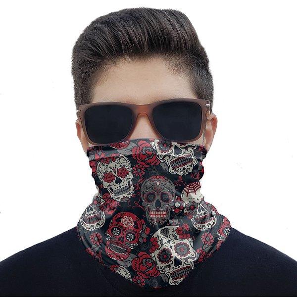 Máscara Bandana Caveiras Mexicanas Proteção Ciclismo Moto
