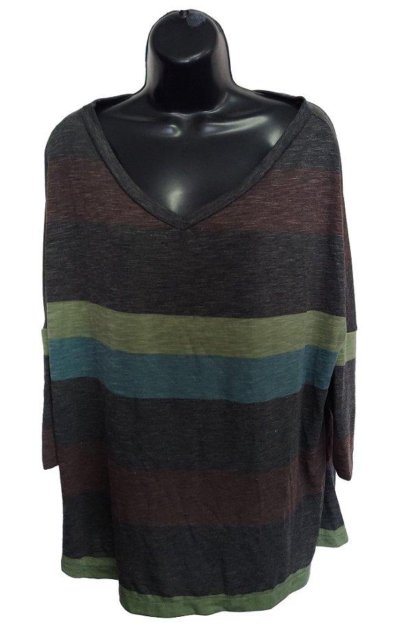 Blusa Cinza com faixas coloridas