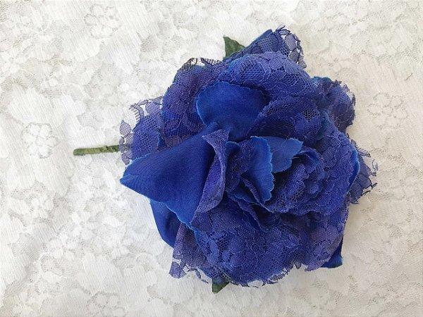 Rosa Média Azul Marinho Renda