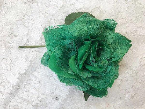 Rosa Média Verde Renda