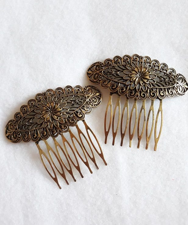 Peineta Metal Flor Pequena  (Conjunto)