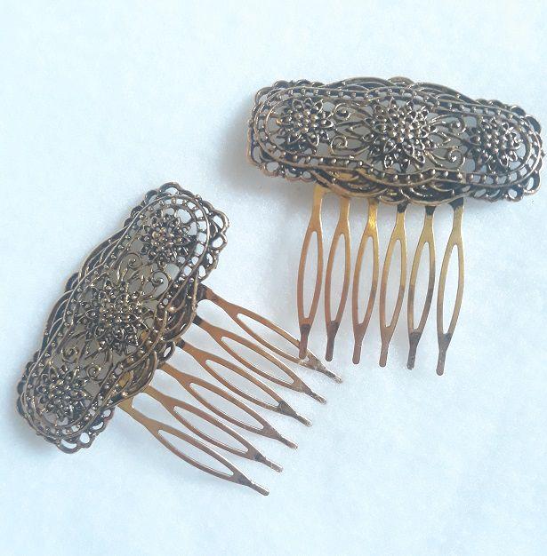 Peineta Metal 3 flores Pequenas (conjunto)