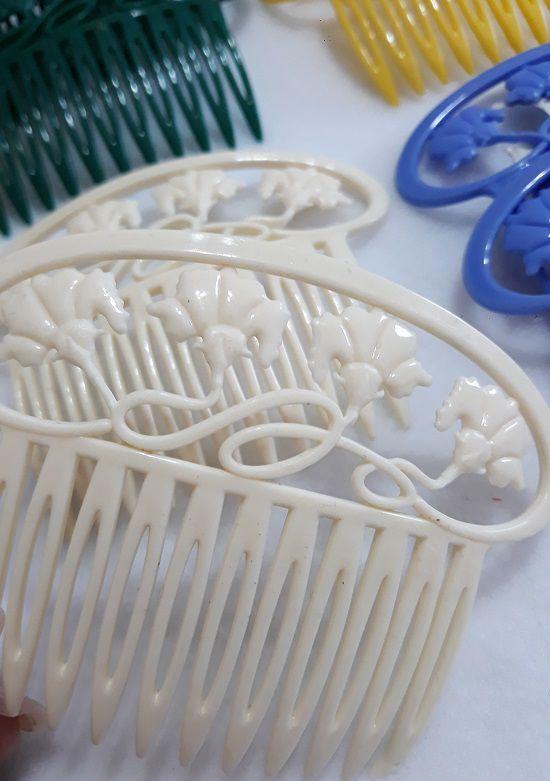 Peinecillo Plástico Flores (conjunto)