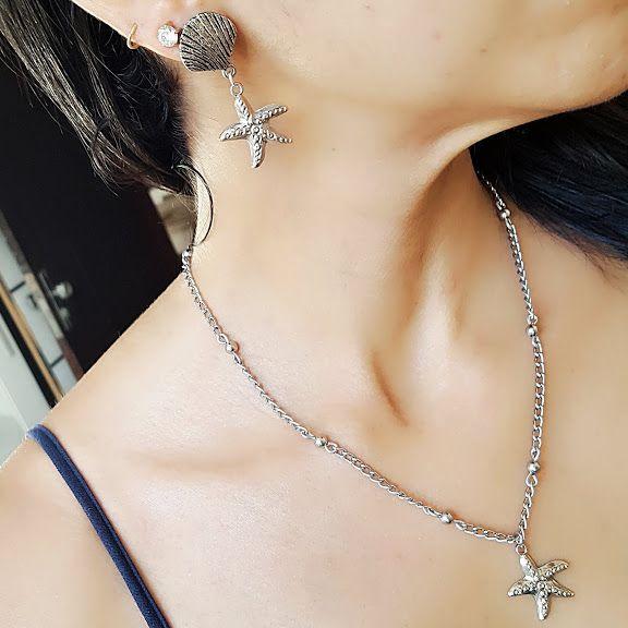 Conjunto brinco e colar prateado estrela do mar