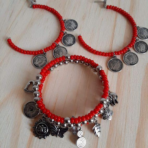 Conjunto brinco argola e pulseira vermelho com pingentes