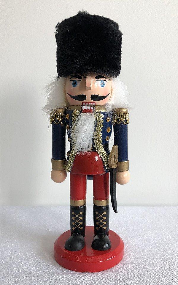 Soldado Quebra Nozes - 20 cm - azul/vermelho