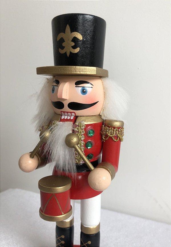 Soldado Quebra Nozes - 20 cm - vermelho/tamborzinho
