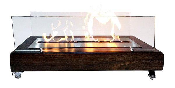 Lareira Ecológica Classe A a Álcool Portátil Madeira Escurecida Queimador 60cm