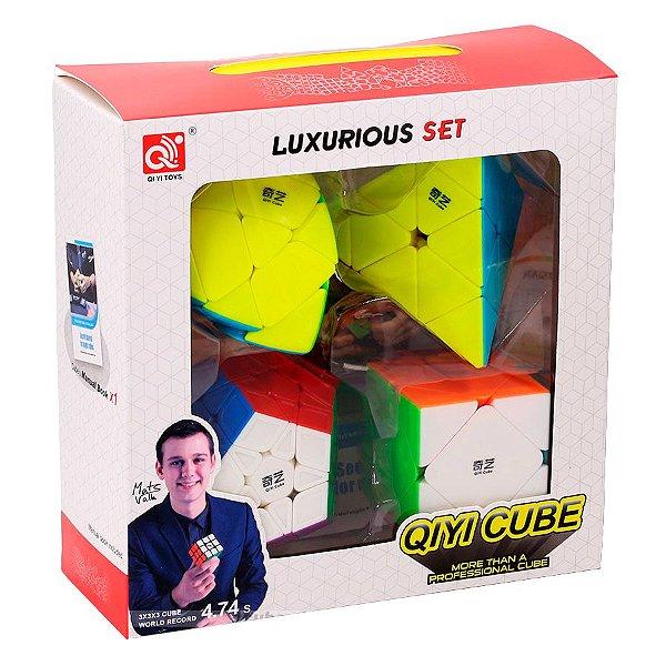 Box Cubo Mágico Qiyi Megaminx + Pyraminx + Skewb + Mastermorphix Stickerless