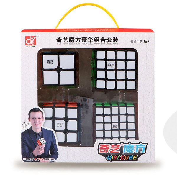 Box Cubo Mágico Qiyi 2x2x2 + 3x3x3 + 4x4x4 + 5x5x5 Preto