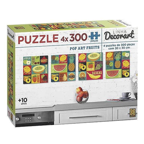 Quebra-Cabeça Decorart Pop Art Fruits 4 x 300 peças