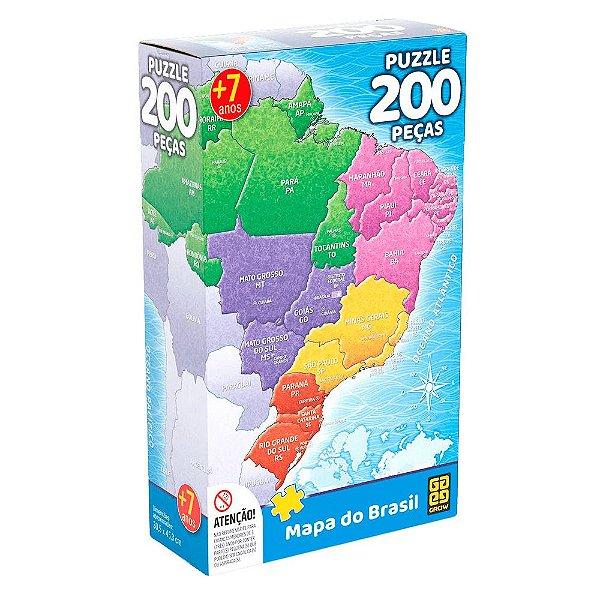 Quebra-Cabeça Mapa do Brasil 200 peças