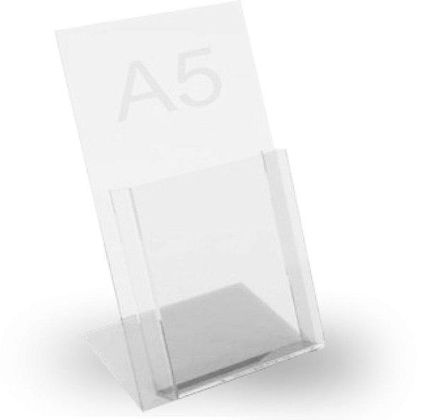 porta folheto de mesa c/ bolsa em  acrilico A5