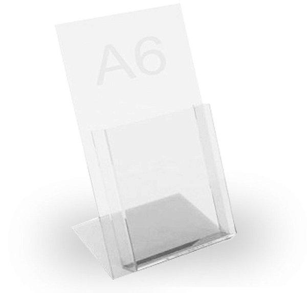porta folheto de mesa c/ bolsa em  acrilico A6
