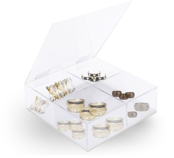 Caixa Organizadora em Acrílico Cristal – Com Tampa 4 repartições medidas: 20cm x 10,0cm x 20cm (Largura x Altura x Profundidade)