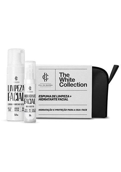 Kit para o Rosto THE WHITE COLLECTION: Necessaire + Hidratante Facial + Limpeza Facial CIA. DA BARBA
