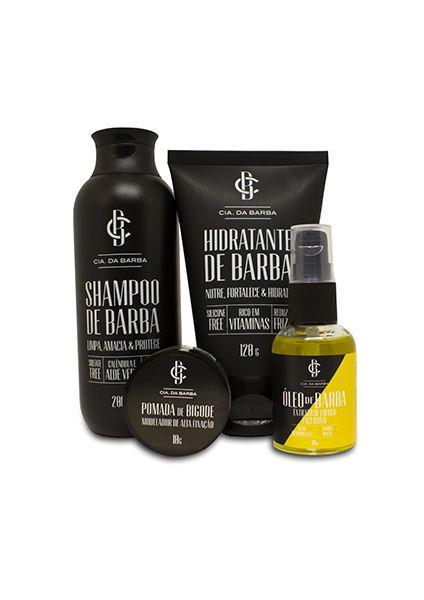 Kit para a Barba: Shampoo de Barba + Hidratante de Barba + Óleo de Barba Bastards + Pomada de Bigode CIA. DA BARBA