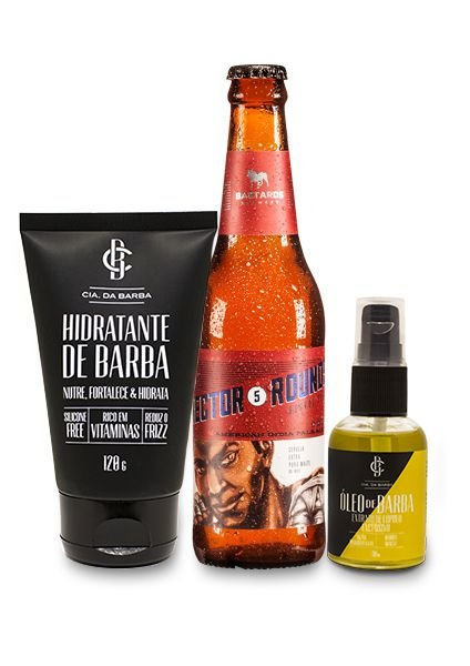 Kit de Presente Masculino: Balm Hidratante de Barba + Óleo de Barba Lúpulo Exclusivo Bastards 30ml + Cerveja IPA Bastards 355ml