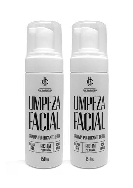 Kit Limpeza para o rosto - 2 Limpezas Faciais - Espuma Purificante Detox para Pele 150ml CIA. DA BARBA