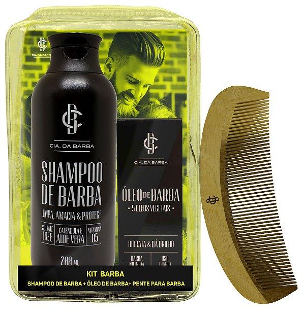 Seleção Barba Macia: Shampoo + Óleo para barba + Pente