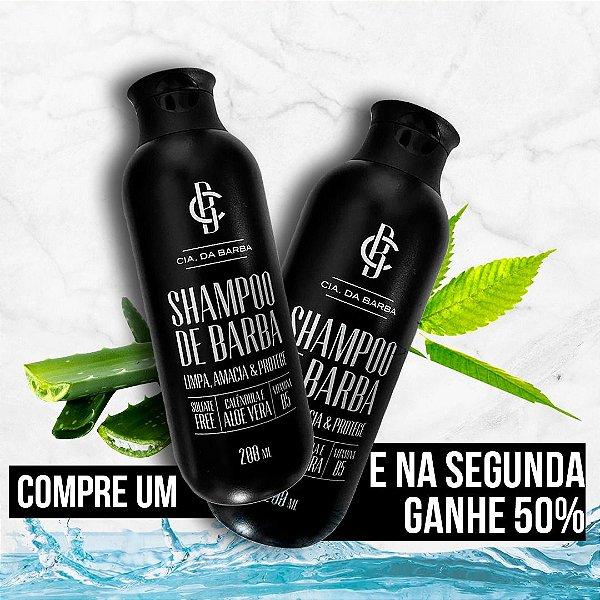Ganhe 50% OFF na segunda unidade de Shampoo de Barba CIA DA BARBA - Este KIT já contempla as duas unidades dos shampoos.