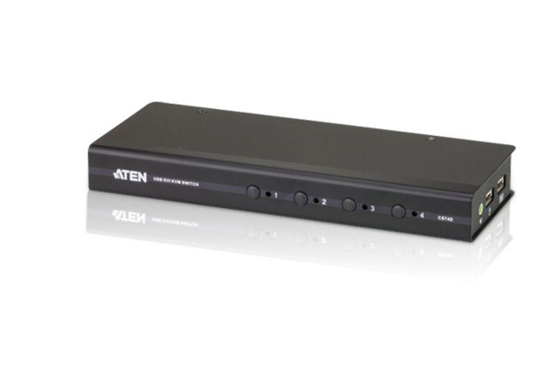 CS74D Comutador KVM fino de 4 portas USB DVI/Áudio