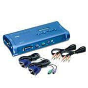 TK-408K TRENDnet Chaveador KVM (teclado+video+mouse) PS/2 com 4 portas, com Áudio e 4x Cabos KVM Inclusos