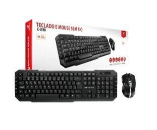 403040380100 KIT Teclado e Mouse S/fio K-w40bk Preto C3tech