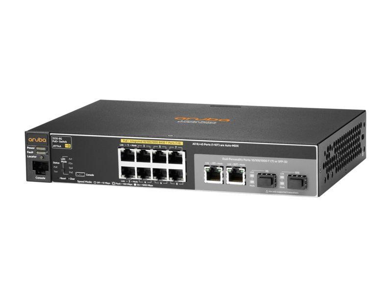 Switch 2530 Gerenciável 8G PoE+ com 8x PoE 10/100/1000Mbps + 2x Gigabit Combo (RJ45 ou SFP) (Potencia PoE: 67W) - Aruba / J9774A