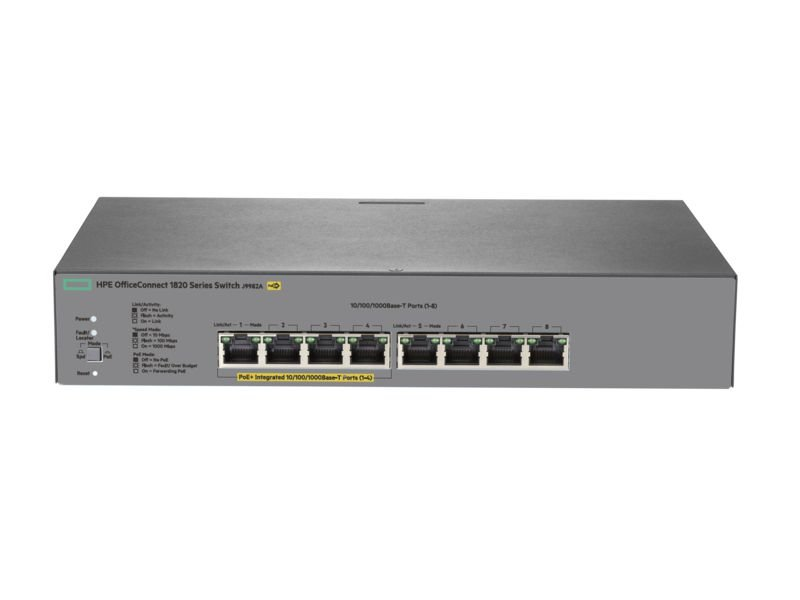 Switch 1820 Gerenciável Giga 8G PoE+ 65W 8portas 10/100/1000Mbps - HPE / J9982A