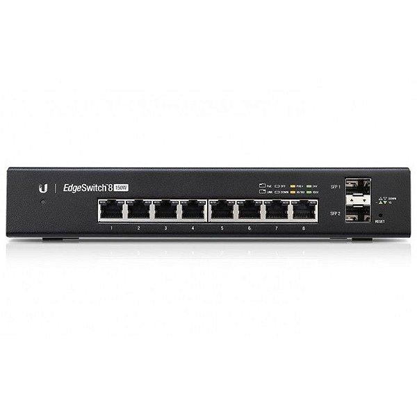 Switch Edge Ubiquiti 8Portas RJ45 + 2Portas SFP PoE - ES-8-150W