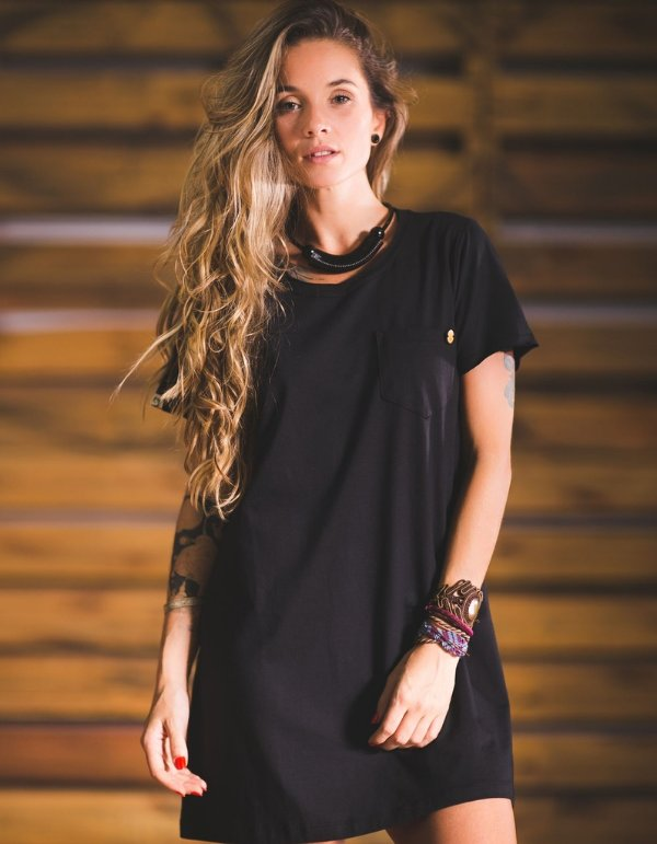 Vestido Malha Preto - Bolsinho Alma Necta