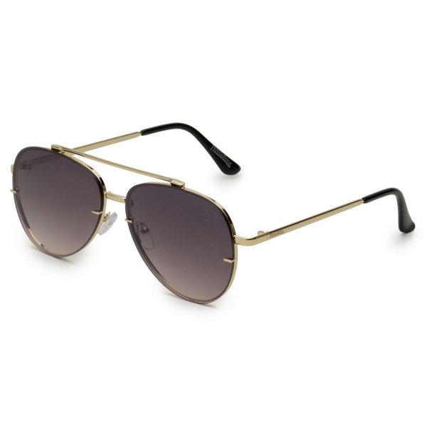 Óculos de Sol Pressão Rural Metal Aviador Feminino Marrom/Dourado