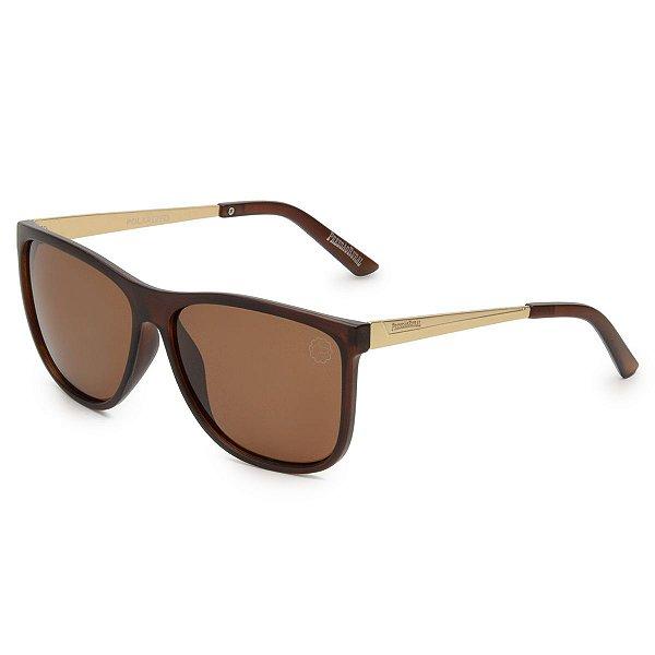 Óculos de Sol Pressão Rural Masculino Marrom/Dourado