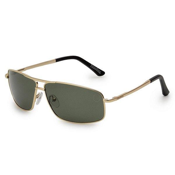 Óculos de Sol Pressão Rural Metal Masculino Preto/Dourado
