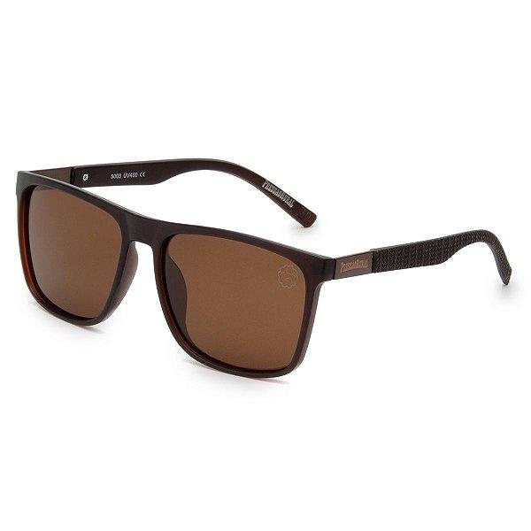 Óculos de Sol Pressão Rural Acetato Masculino Polarizado Quadrado Marrom Fosco