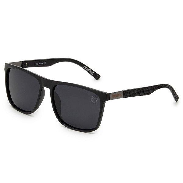 Óculos de Sol Pressão Rural Acetato Masculino Polarizado Quadrado Preto Fosco