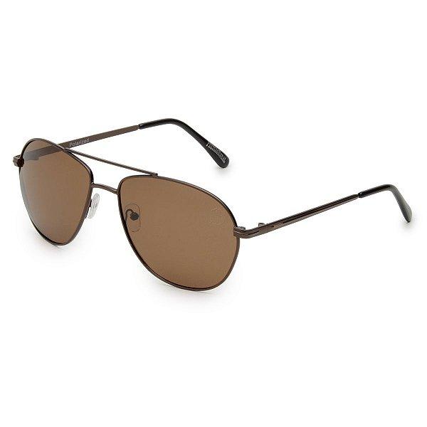 Óculos de Sol Pressão Rural Metal Unissex Marrom/Bronze