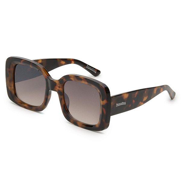 Óculos de Sol Pressão Rural Acetato Feminino Quadrado Marrom Estampado
