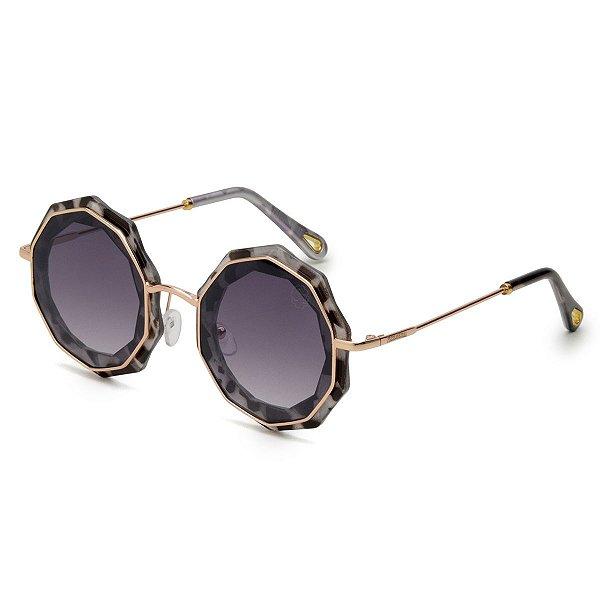 Óculos de Sol Pressão Rural Acetato Decagonal Feminino Transparente Estampado/Cinza