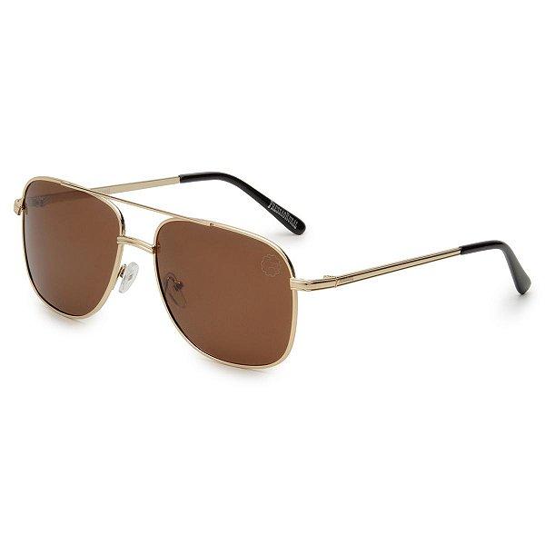 Óculos de Sol Pressão Rural Metal Unissex Dourado/Marrom
