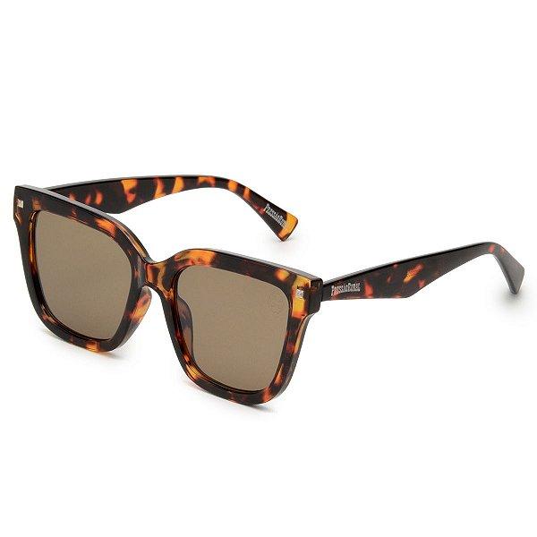Óculos de Sol Pressão Rural Acetato Estampado Degradê Marrom