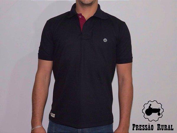 Camisa Polo Pressão Rural - Preta  Detalhe de Metal