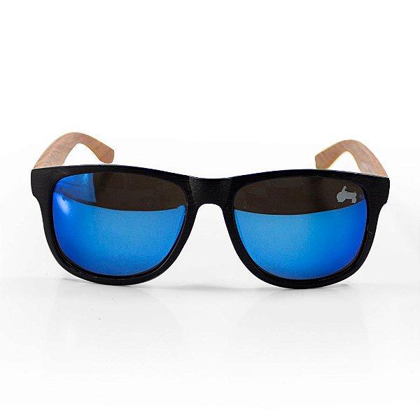 Óculos De Sol - Pressão Rural  Frente  Espelhado Azul Madeirado