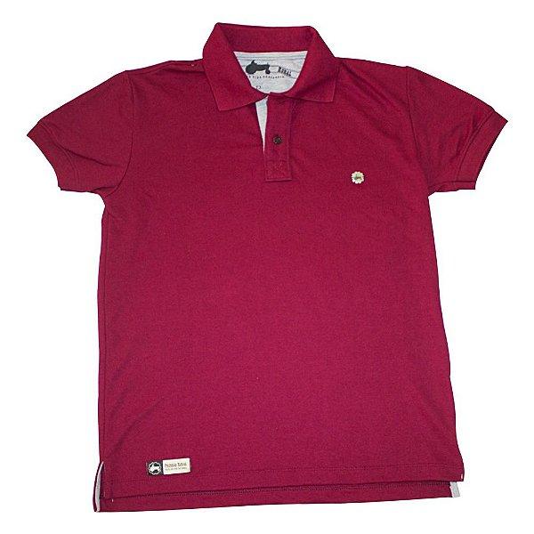 Camisa Polo Pressão Rural - Vinho  Detalhe de Metal
