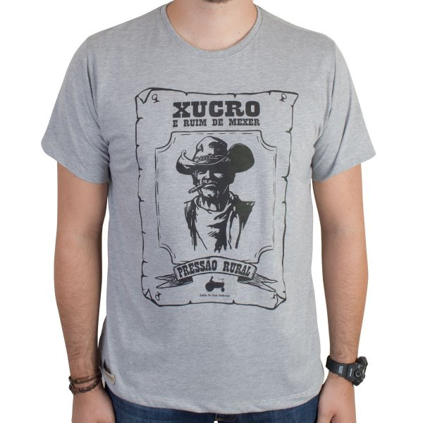 Camiseta Pressão Rural - Caboclo Xucro e Ruim de Mexer Cinza Mescla