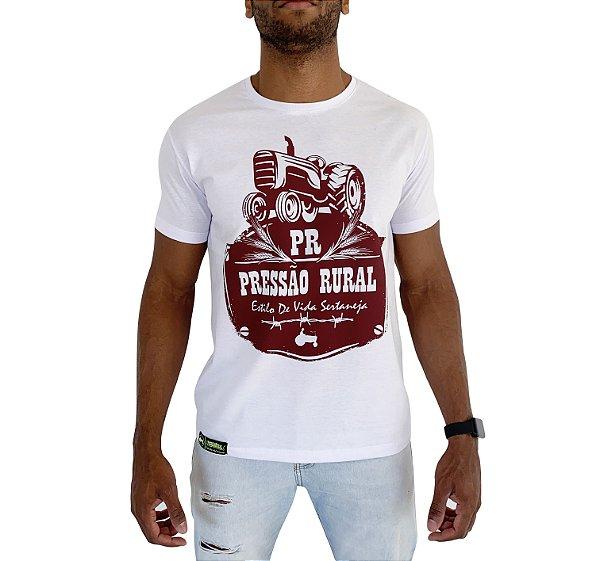 Camiseta Pressão Rural - Trator PR Branca