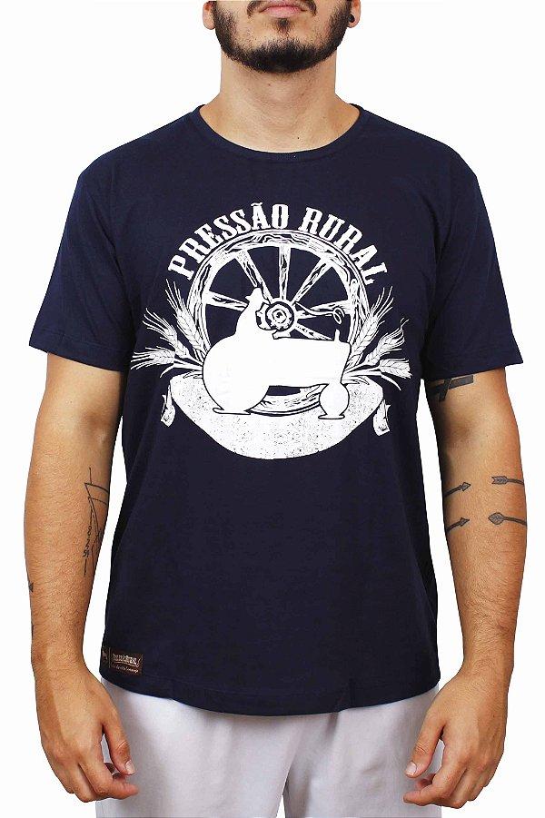 Camiseta Pressão Rural - Azul Roda de Carroça Antiga